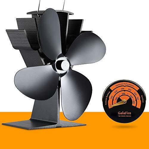 [2 Jahre Garantie] Ventilator für Kamin Holzöfen Öfen mit 4 Flügel Stromloser KaminVentilator mit Ofenthermometer Ofenventilator für Feuerstelle Kaminöfen