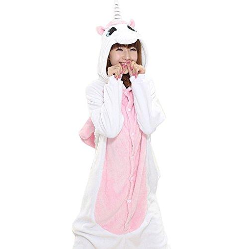 Smartstar Unisex Pyjama Cosplay Kostüm für Halloween Fasching Karneval, Einteilliges Tierkostüm Schlafanzug Nachtwäsche Jumpsiut - Einhorn Größe M für Körpergrößer (Kostüme Einhorn Womens)