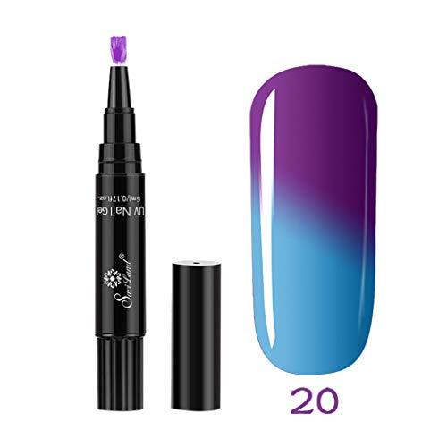 Mitlfuny Nagel Kunst,1 Stück 3 in 1 Schritt Nagelgelstift One Step Nagel UV-Temperaturänderungsgel verwenden