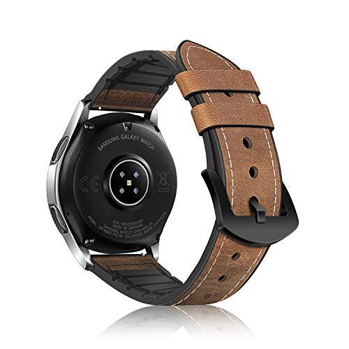 Fintie Armband kompatibel für Galaxy Watch 46mm / Gear S3 Frontier / Gear S3 Classic / Huawei GT Watch - Uhrarmband aus Leder & TPU Ersatzband Vintage mit Edelstahlschnalle, Braun