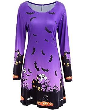 Yvelands Camisas de Halloween para Mujeres, Vestidos de Mujer Vestidos de Fiesta de Noche Falda de Vestido de...
