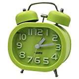 "3 ""Coolzon® Bedside Alarm Clock Retro Alarm Clocks Quartz Analog Alarm Clock Double Bell Silent with Night Light and Loud Ring Alarm (Green)"