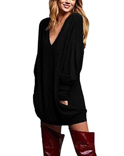 Yidarton Damen Langarm Oberteile V-Ausschnitt Lose Oversize Lang Sweatshirt Pullover Tops (L, Schwarz) (Schwarzen Pullover Kleid Damen)