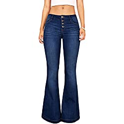 Suvimuga Las Mujeres De Baja Altura Jeans Pantalones Largos Damas Denim Pantalones Acampanados Pantalones De Campana Azul M