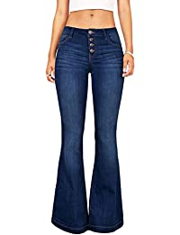 ad8951d410 Suvimuga Las Mujeres De Baja Altura Jeans Pantalones Largos Damas Denim  Pantalones Acampanados Pantalones De Campana