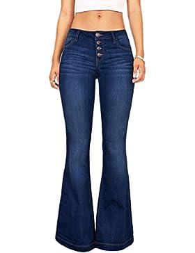 Suvimuga Mujeres De Baja Altura Jeans Pantalones Largos Damas Denim Pantalones Acampanados Pantalones De Campana