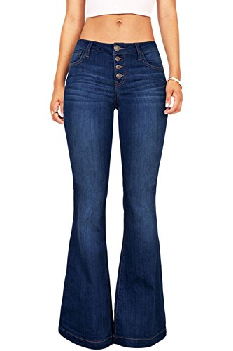 Suvimuga Las Mujeres De Baja Altura Jeans Pantalones Largos Damas Denim Pantalones Acampanados...