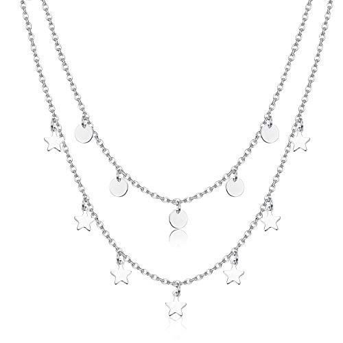 sailimue 2 Reihige Kette Plättchen für Damen Mädchen Zarte Kette Sterne Feine Choker Kette mit Kleinen Stern Runde Anhängern