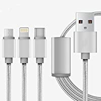 Cable del cargador del USB, USB micro trenzado durable multifuncional 3in1, tipo C, cable de carga micro del relámpago para el iPhone 7 5C 5S 6 6Plus, galaxia de Samsung, Huawei, Xiaomi, Meizu, ZTE, Lenovo, LG, Zenfone y el otro teléfono android(Gris-plata)