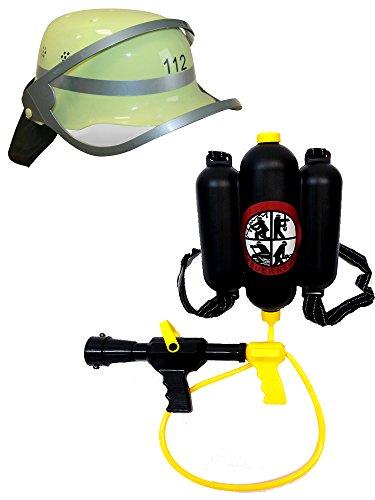 Brigamo 9009112 - Feuerwehr Spielset: Deutscher Feuerwehr Helm mit beweglichem Visier und Wasserpistole Tankrucksack