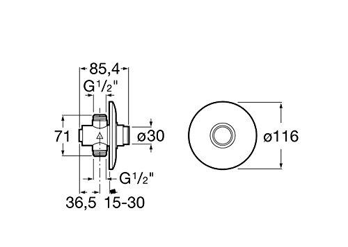 Roca Instant – Grifo de paso recto temporizado empotrable para ducha con rosetón redondo . Griferías hidrosanitarias especiales. Ref. A505327000