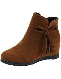 Botas Mujer Invierno, Sonnena Botines Zapatos Parte superior alta de talón plano Zapatos Mujer otoño Invierno Plataforma