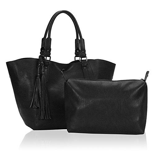 Veevan Damen Tote Handtasche Bildpaket Shopper(Schwarz)