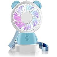 Handheld Mini Fan, Hebey Portable Rechargeable Fan Thin Cooling Fan Multi-color LED Light Fan Cute Bear Rabbit Fan Standable and Hanging Fan Gifts for Home Travel Indoor Outdoor Baby Kids Friends (Blue Bear)