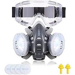NASUM Respirateur Anti-poussière Kit de Masque de Protection avec 2 Filtres/6 Cotons Filtrants/des Lunettes/Bouchon d'Oreille, Réutilisable Anti-Vapeur/Pollution pour Bricolage/Peinture/Travaux
