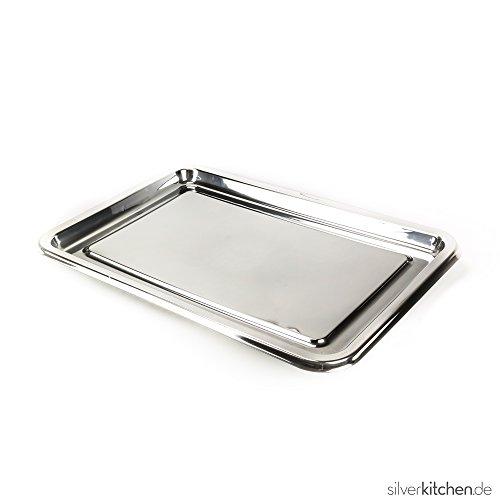 Tablett rechteckig hochwertig Plastik Einweg 55 x 38 cm silber (Kunststoff-silber Tablett)