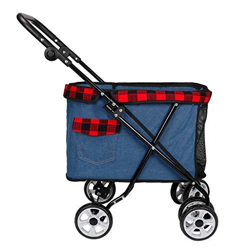 Hundebuggy Kinderwagen faltbar für kleine, mittelgroße Hunde und Katzen, 4-Rollen-Transporter, Transporter, Jogger, Buggy, Haustierbedarf, Hundewagen 25 kg (schwarz, dunkelblau, hellblau) Hundebuggy