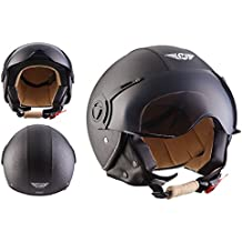 MOTO H44 Leather Black · Scooter Piloto Chopper Helmet Mofa Casco Demi-Jet Cruiser Vintage Urbano Moto motocicleta Urban Biker Retro Vespa Bobber · ECE certificado · incluyendo parasol · incluyendo bolsa de casco · Gris · XL (61-62cm)