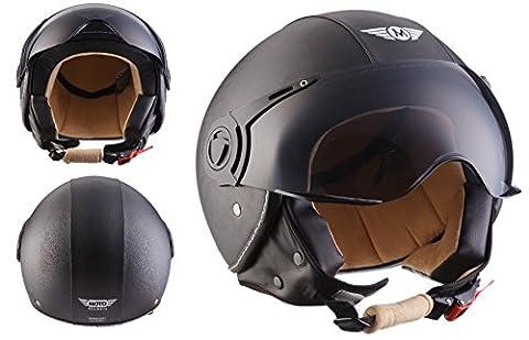 Moto Helmets H44 Bobber Vintage Chopper Demi-Jet Helmet Scooter Chopper Pilot Retro Biker Vespa Moto Mofa Casque Jet Cruiser, Noir Cuir, XL (61-62cm)