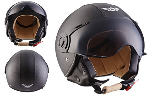 MOTO H44 Leather Black · Scooter Piloto Chopper Helmet Mofa Casco Demi-Jet...