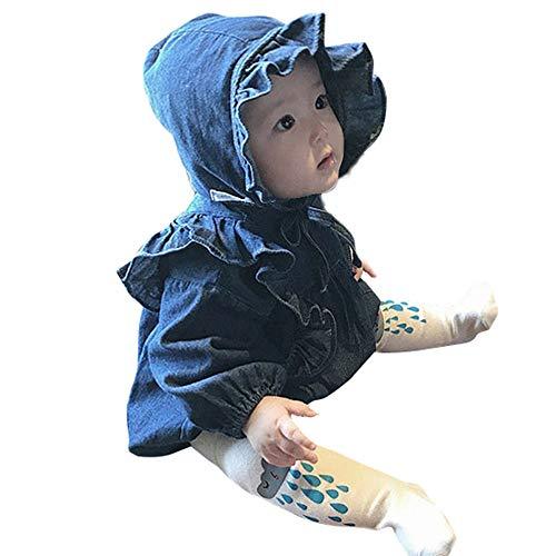 REALIKE Babykleidung Baby Mädchen Denim Strampler Mit Rüschen Tasche Cowboy Outfits Stretch Manschette Jeans Jumpsuits Overalls Bekleidungssets + Einfarbig Bandage Hut (66, Blau)