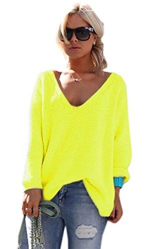 Schöner Sommer Pullover mit V-Ausschnitt Pulli schöne Farben Urlaub EinheitsgrößeS/M (617) (Neon Gelb)