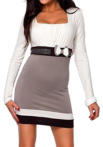 Glamour Empire. Donna. Mini abito. Tunica con strass sulla cintura. 158 (Ecru, 40/42)