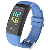 WSWJJXB Smart Sport Bracciale Schermo a Colori Frequenza cardiaca Contapassi per Il rilevamento della Pressione Rilevazione del Sonno Luminosità dello Schermo Bluetooth (Colore : Blu)