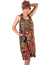 Kleid Trägerkleid Maxikleid Abendkleid Sommerkleid Strandkleid Kleider Ärmellos Ethno Goa Neckholder
