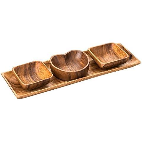 Premier Housewares 1104623 Set Piatto da Portata Socorro Vassoio, Piatto Forma di Cuore e 2 Piatti Quadrati in Legno di Acacia