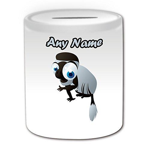 Personalisiertes Geschenk-big-eye schwarz-weiß-Stummelaffe Spardose (Animal Design Thema, weiß)-alle Nachricht/Name auf Ihre einzigartige-colobi Monkey