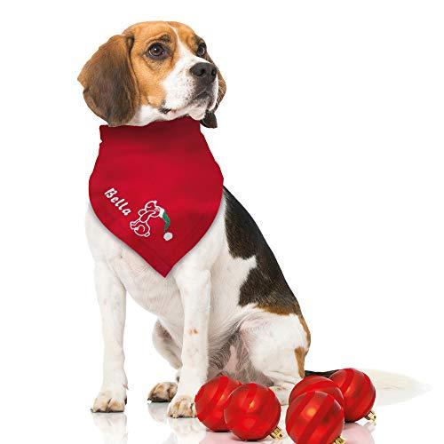 Schecker Besticktes Weihnachts Hundehalstuch Weihnachtshund + Name des Hundes