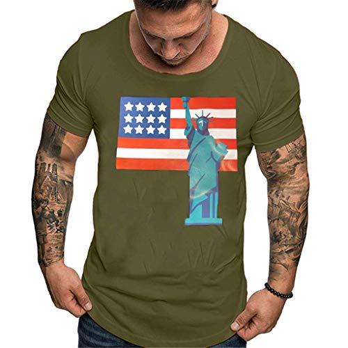 Xmiral Maglietta Uomo Moda Stampa Solida Stile Design T-Shirt Camicie Casual Top Camicetta M Verde
