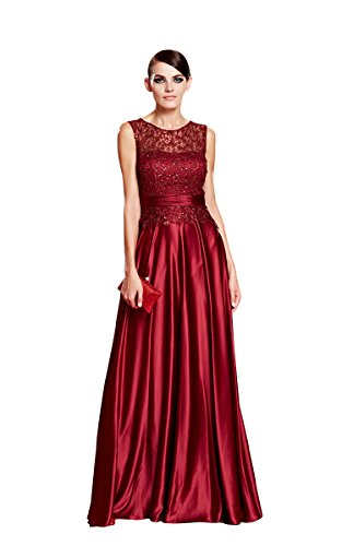 Beauty-Emily -  Vestito  - linea ad a - Collo a U  - Senza maniche  - Donna Wine Red