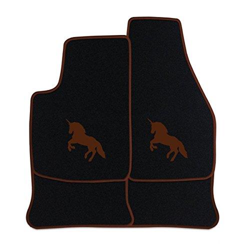 Preisvergleich Produktbild Fußmatten aus NF-Velours in Schwarz mit Logo EINHORN mittig, Rand & Logo in Braun (315) für Volvo 3er 340 360 Baujahr 1987-1988