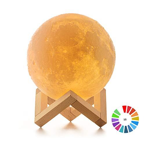 Lámpara Luna 3D, ICONNTECHS Brillo Regulable 16 Colores RGB Recargable USB Control...