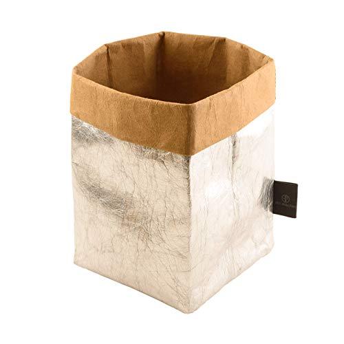 stil-macher Designer Krempelkorb Silber - Gr. M - 12x12x24cm| Aufbewahrungskorb aus waschbarem Papier | Lederoptik durch VEGAN Leder | Deko-Box | Geschenkbox | Übertopf | in DREI tollen Farben