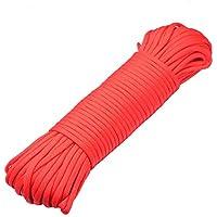 DonDon Cuerda de 30 metros de nylon Cuerda de paracord Cuerda de supervivencia para actividades al aire libre, para camping y para manualidades 4 mm – 7 filamentos rojo