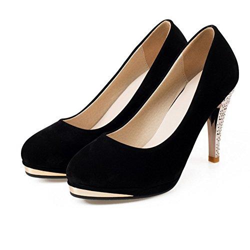 AgooLar Femme Tire à Talon Haut Suédé Couleur Unie Rond Chaussures Légeres Noir