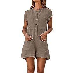 JUSHINI Femme Combinaisons Couleur Unie Vintage Boutonnage Deux Poches Manches Courtes Confortable Lin Casual Trendy Short Jumpsuit (Kaki,L)