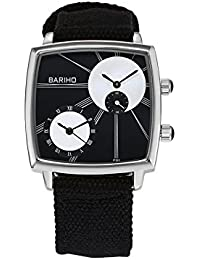 Naivo Men's Quartz Stainless Steel and Canvas Casual Color:Black (Model: WATCH-1118)
