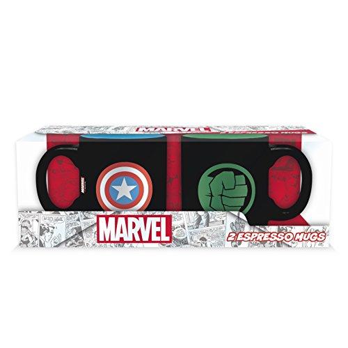 ABYstyle-Naruto Shippuden Marvel Set 2Mini Mugs Captain America and Hulk unisex-adult, abymug365 Mini Becher Set