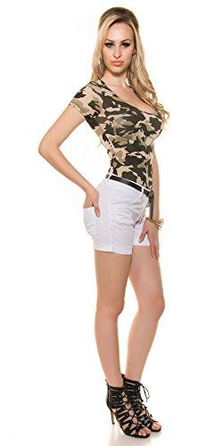 Bermuda Shorts krempelbar mit Gürtel Weiß