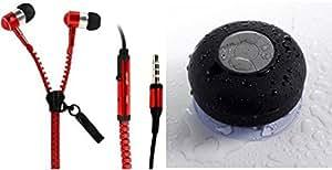MIRZA Zipper Earphones & Bluetooth Speaker for SONY xperia M4 aqua dual(Zipper Earphones||With MIC||Zipper Earphones & Shower Bluetooth Speaker||Water Resistant||With MIC)