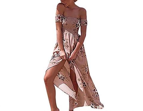 Maxikleid Damen Schulterfrei Rückenfrei Bandeau Blumenmusters Lang Floral Sommer Kleider Blümchenkleid Beige XL