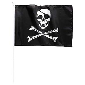 Widmann?Bandera Pirata con asta - Medidas 43x 30cm