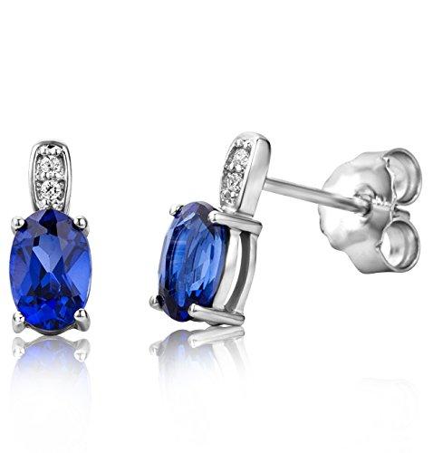 ByJoy Orecchini Donna   con Zaffiro blu e Zirconi taglio Brillante in Argento Sterling 925