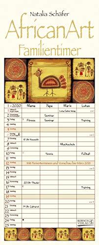 AfricanArt Familientimer 2020: Familienplaner mit 4 breiten Spalten. Hochwertiger Familienkalender mit Ferienterminen, Vorschau bis März 2021. Mit Heißfolienprägung gold veredelt.