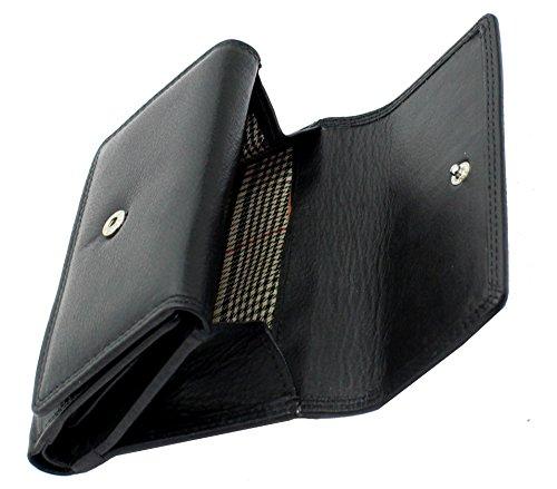 Signore progettista mini morbida borsa di cuoio della carta di credito portafoglio, identità & taschino scatola regalo da StarHide # 5545 Nero