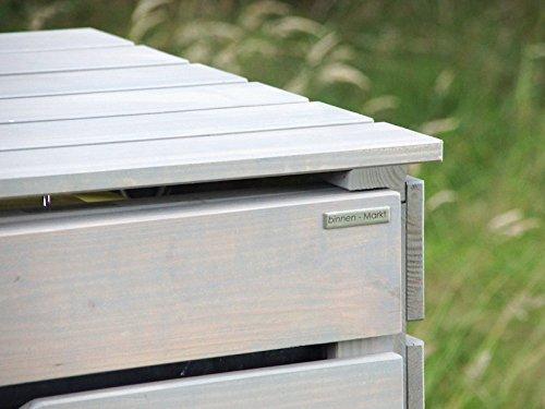 3er Mülltonnenbox / Mülltonnenverkleidung 240 L Holz, Transparent Geölt Grau - 3
